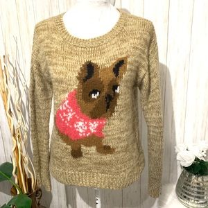 Rewind Pug Christmas Loose knit sweater size small
